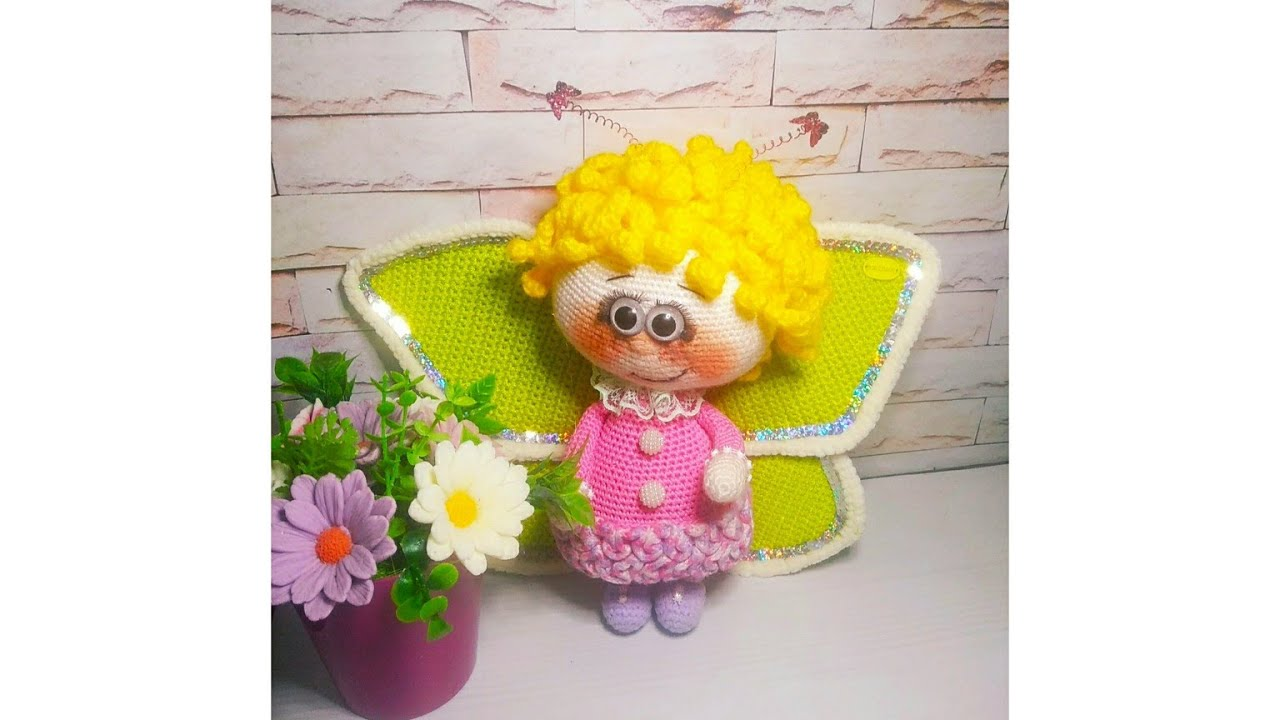 Кукла крючком, вязаная куколка, бонни крючком, вязаная бонни, амигуруми, мастер класс по вязанию куклы бонни, кукла бабочка,видео урок по вязанию игрушки , фото, картинка, мастер-класс, мк, схема, описание, крючком, амигуруми, игрушка, фотография