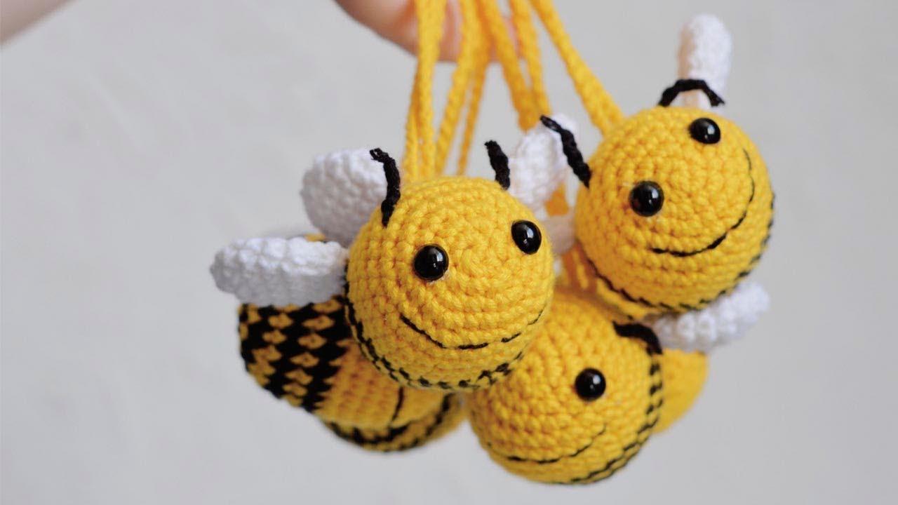 Пчёлка крючком, вязаная пчёлка, амигуруми,  мастер класс по вязанию пчелки крючком,  видео урок по вязанию игрушки , фото, картинка, мастер-класс, мк, схема, описание, крючком, амигуруми, игрушка, фотография