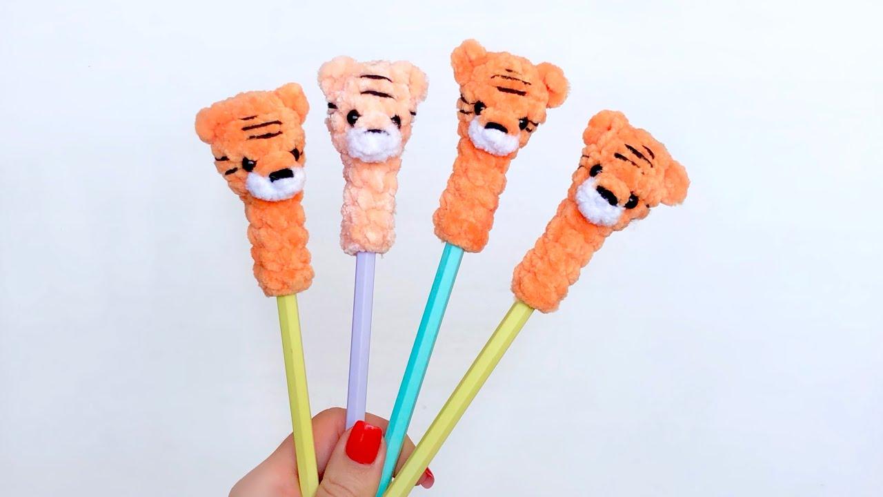 тигренок мк, тигренок на ручку, тигр на ручку мк, вязаный тигр, тигр мастер класс, игрушка на карандаш крючком, фото, картинка, мастер-класс, мк, схема, описание, крючком, амигуруми, игрушка, фотография