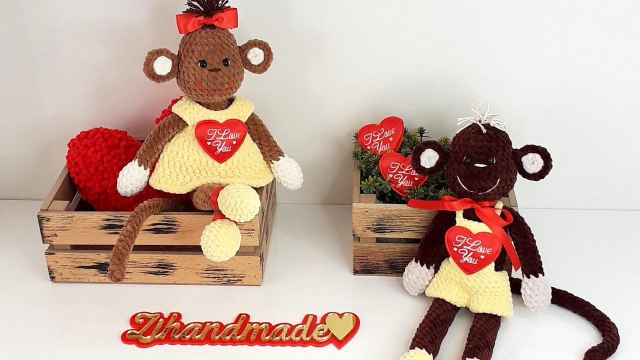 вязаная обезьянка, мк обезьяна крючком, амигуруми схемы, влюблённые обезьянки, день влюблённых, вязание, игрушки крючком, валентинка крючком, фото, картинка, мастер-класс, мк, схема, описание, крючком, амигуруми, игрушка, фотография