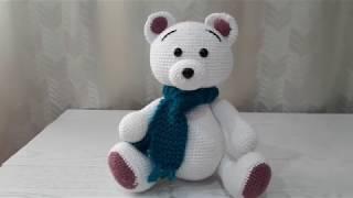 Белый Мишка крючком. Видео мастер-класс, схема и описание по вязанию игрушки амигуруми