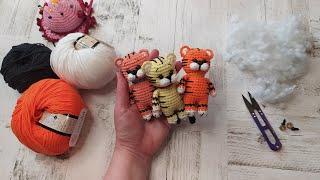 Брелок тигренок Егорка крючком. Видео мастер-класс, схема и описание по вязанию игрушки амигуруми