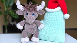 Бык крючком. Видео мастер-класс, схема и описание по вязанию игрушки амигуруми