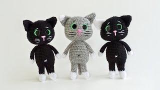 Черный котёнок крючком. Видео мастер-класс, схема и описание по вязанию игрушки амигуруми