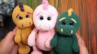Дино Неон крючком. Видео мастер-класс, схема и описание по вязанию игрушки амигуруми