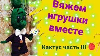 Кактус  Садовник друг Чиполлино крючком. Видео мастер-класс, схема и описание по вязанию игрушки амигуруми