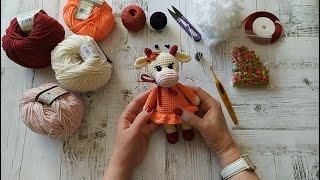Коровка Зорька крючком. Видео мастер-класс, схема и описание по вязанию игрушки амигуруми
