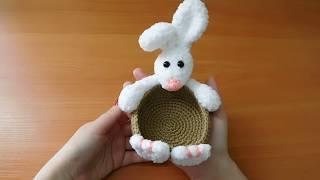 Корзинка пасхальный кролик крючком. Видео мастер-класс, схема и описание по вязанию игрушки амигуруми