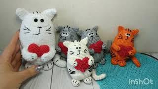 Котик ко дню Святого Валентина крючком. Видео мастер-класс, схема и описание по вязанию игрушки амигуруми