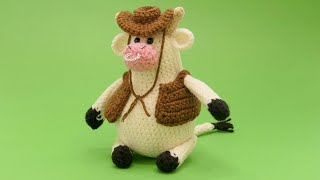 Ковбойский наряд для бычка крючком. Видео мастер-класс, схема и описание по вязанию игрушки амигуруми