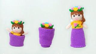 Кукла Цветочная фея крючком. Видео мастер-класс, схема и описание по вязанию игрушки амигуруми