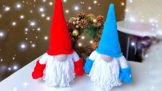 Новогодний гном крючком. Видео мастер-класс, схема и описание по вязанию игрушки амигуруми