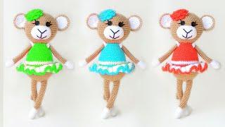 Обезьянка балерина крючком. Видео мастер-класс, схема и описание по вязанию игрушки амигуруми