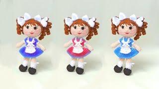 Школьница крючком. Видео мастер-класс, схема и описание по вязанию игрушки амигуруми