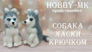 Собака Хаски крючком. Видео мастер-класс, схема и описание по вязанию игрушки амигуруми