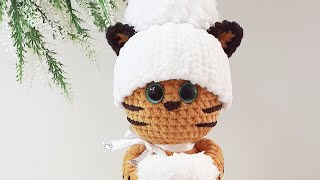 Тигрюня Снежка крючком. Видео мастер-класс, схема и описание по вязанию игрушки амигуруми