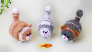 Толстый кот крючком. Видео мастер-класс, схема и описание по вязанию игрушки амигуруми