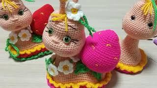 Улитка-ягодка крючком. Видео мастер-класс, схема и описание по вязанию игрушки амигуруми