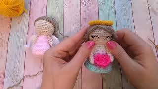 Валентинка Ангел крючком. Видео мастер-класс, схема и описание по вязанию игрушки амигуруми