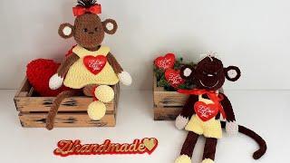 Влюблённые обезьянки  крючком. Видео мастер-класс, схема и описание по вязанию игрушки амигуруми