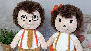 Ёжики Ари и Эми крючком. Видео мастер-класс, схема и описание по вязанию игрушки амигуруми